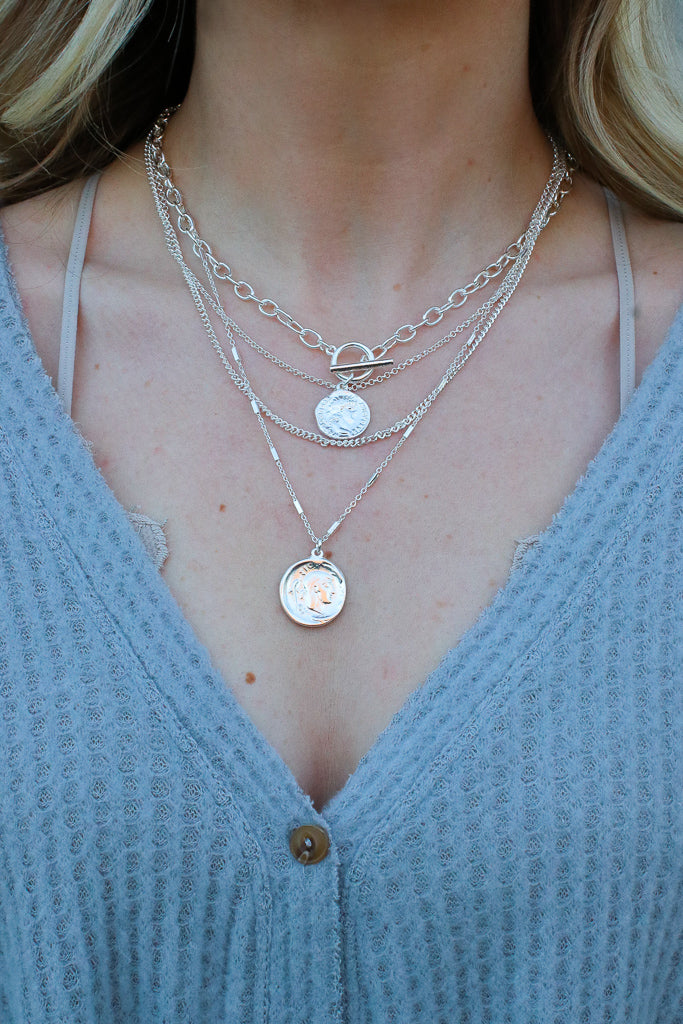 OS / Silver Instant Necessity Layered Coin Necklace - Madison + Mallory