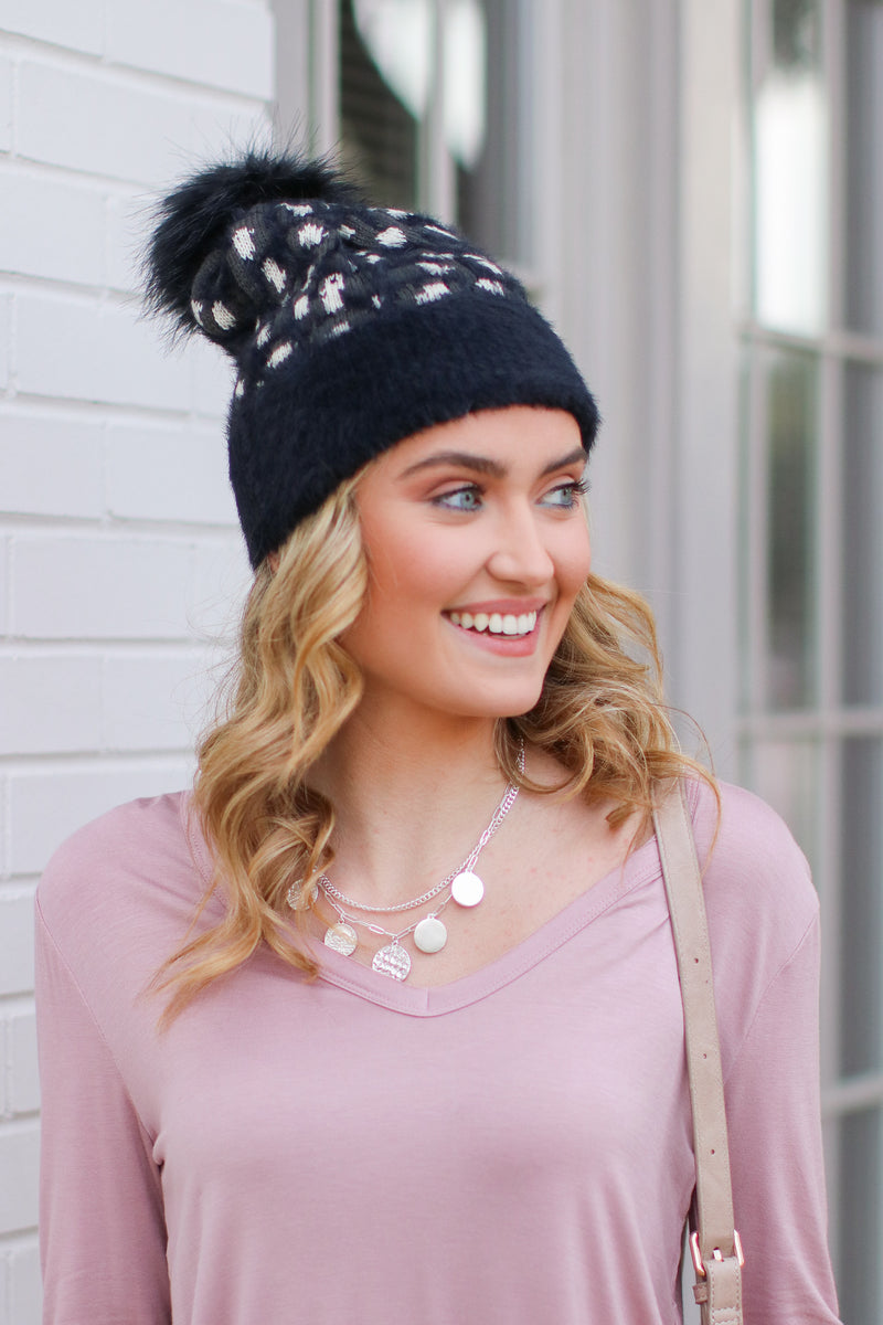 Black Indulgence Leopard Pom Pom Beanie - Black - Madison and Mallory