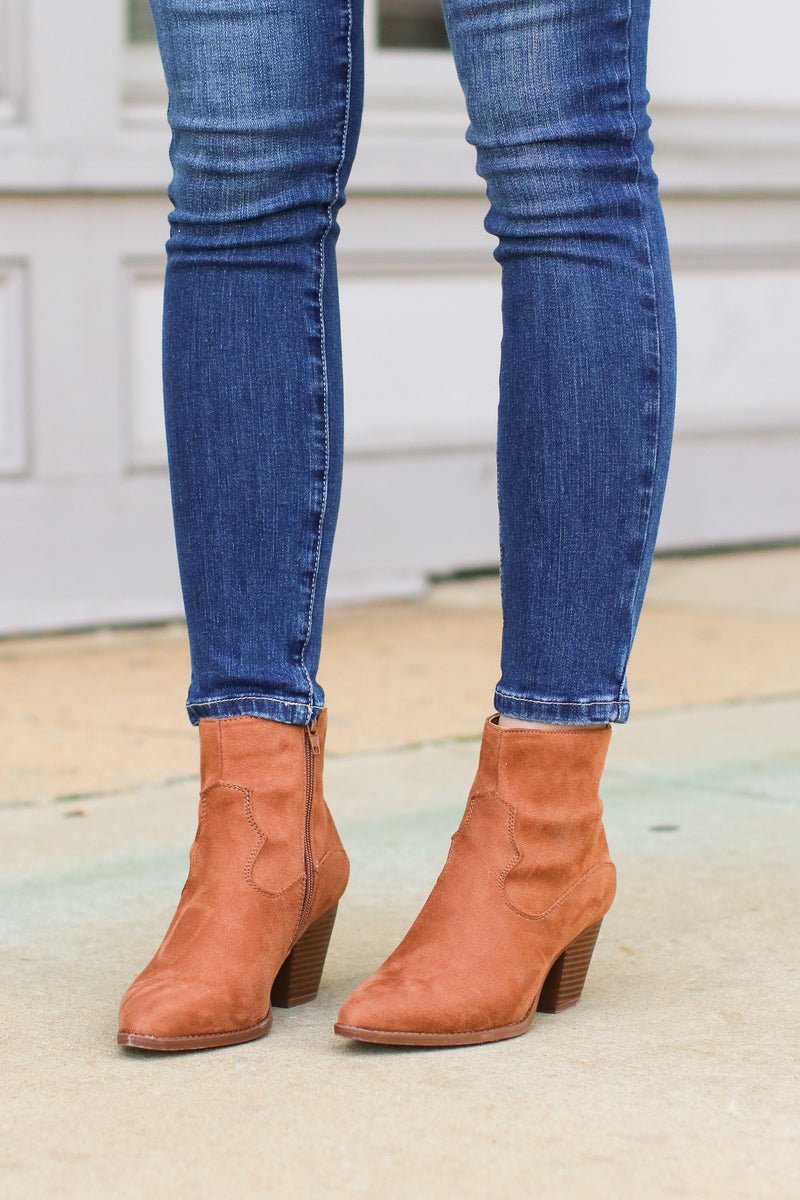 Enville Faux Suede Booties - FINAL SALE - Madison and Mallory
