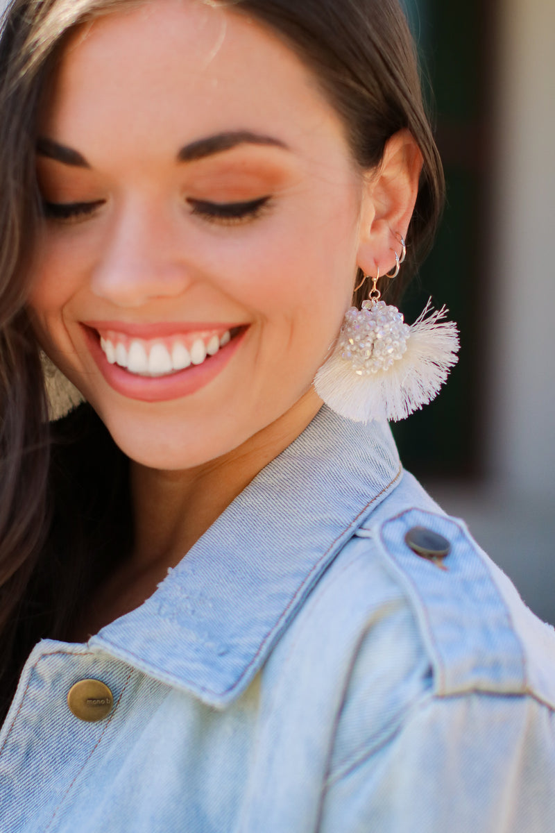 Search is Over Beaded Tassel Earrings - White - Madison and Mallory
