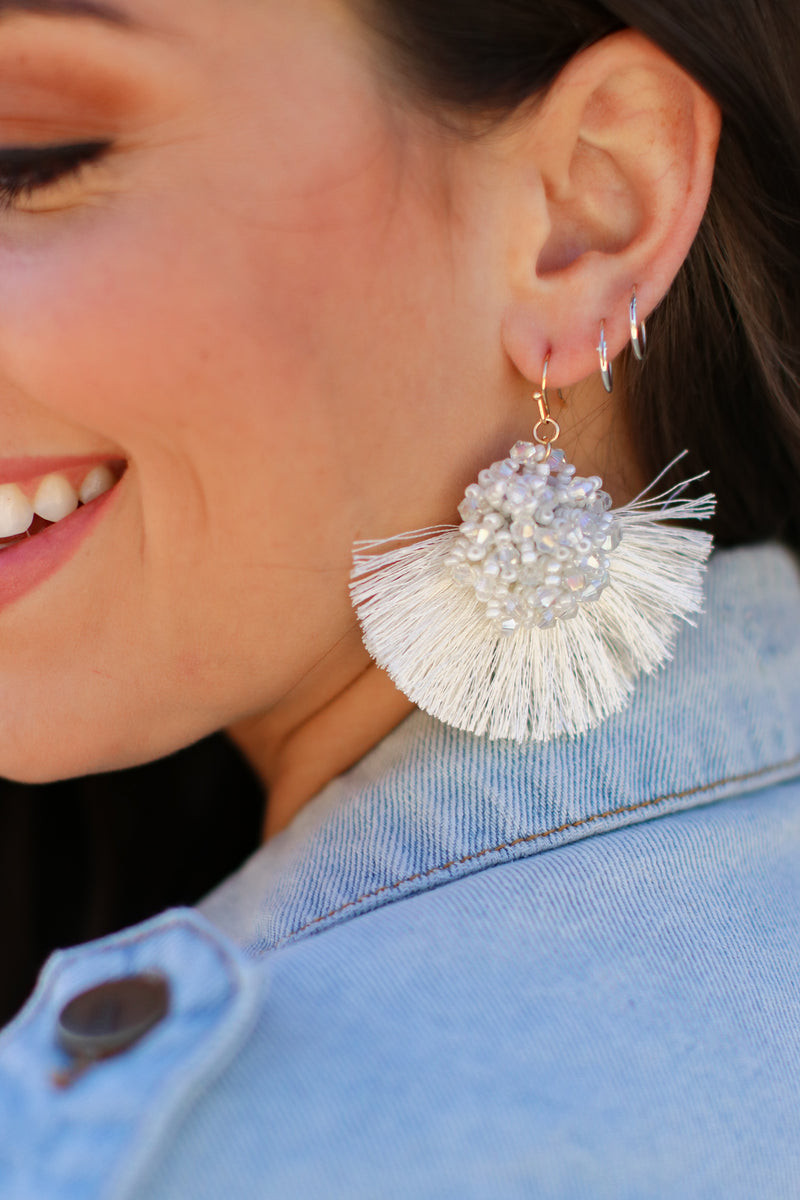 White Search is Over Beaded Tassel Earrings - White - Madison and Mallory