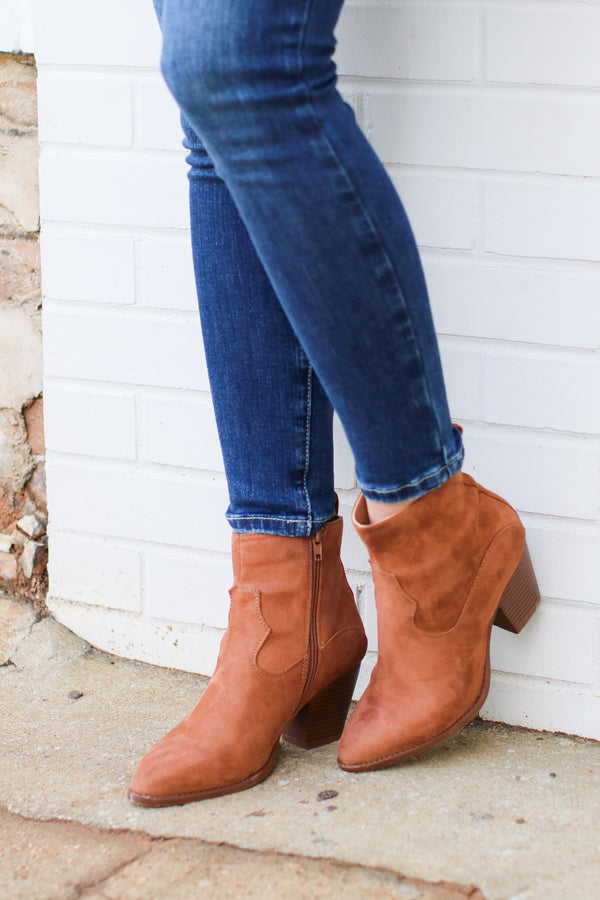 5.5 / Camel Enville Faux Suede Booties - Madison + Mallory
