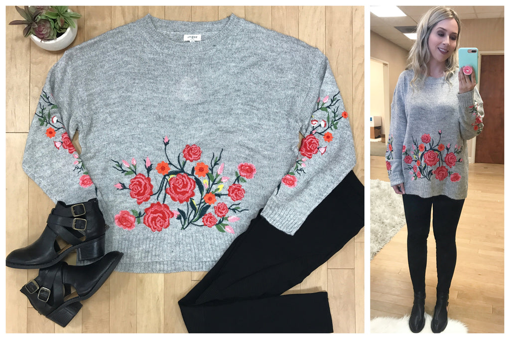 S / Heather Gray Floral Embroidered Sweater - Madison + Mallory
