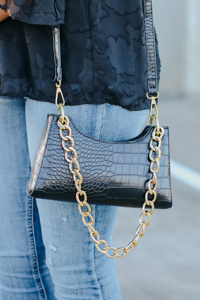 Scaled Up Crocodile Chain Bag - Madison and Mallory