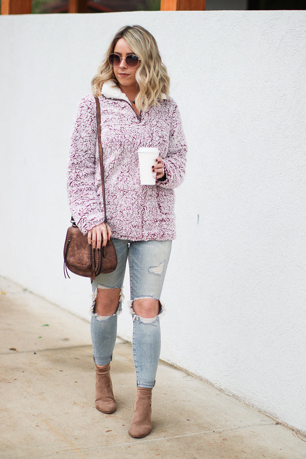 *DOORBUSTER* Warm Up Sherpa Pullover - Wine - Madison + Mallory