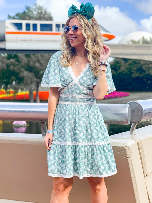 S / Sage In my Mind Floral Lace Dress - Madison + Mallory