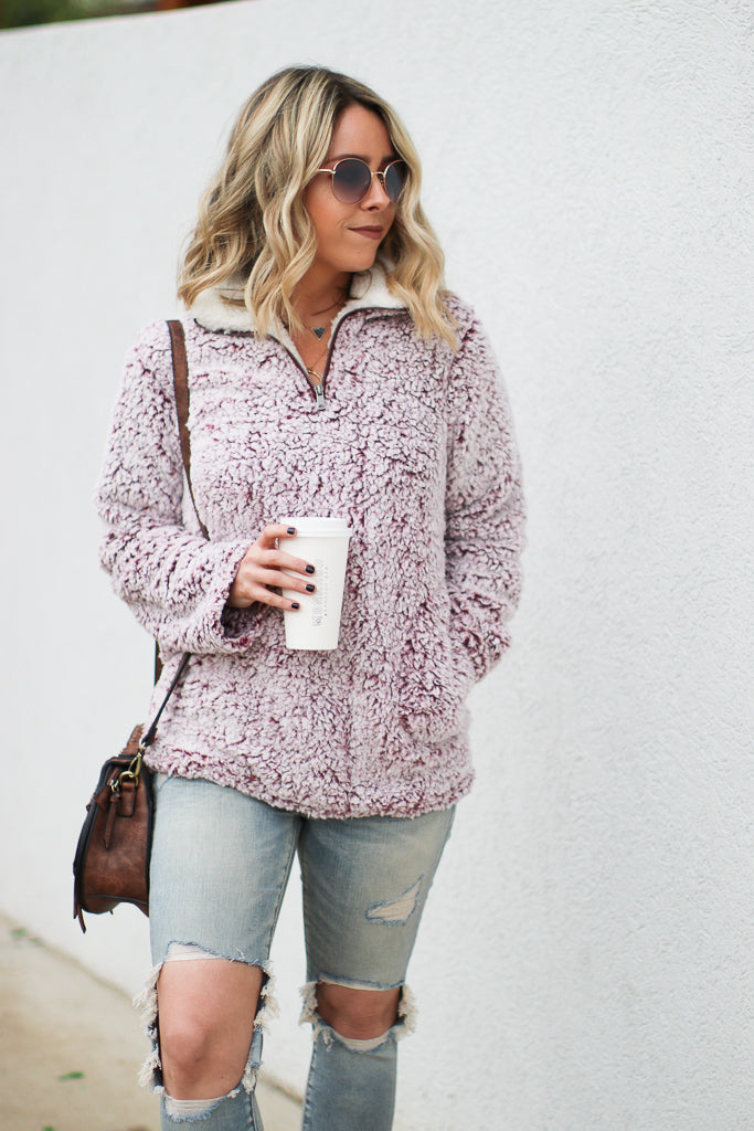 Wine / S Warm Up Sherpa Pullover - Wine - Madison + Mallory