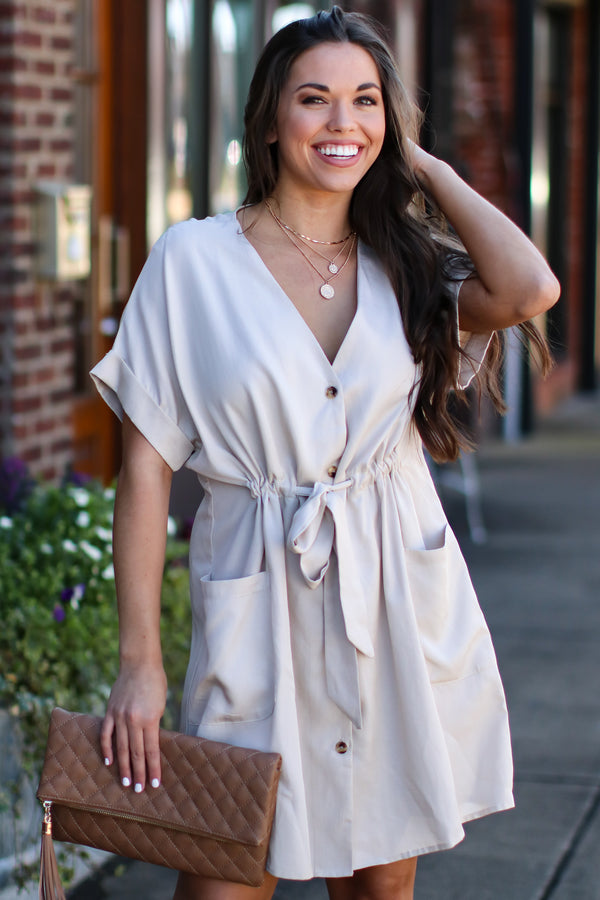 Good Side Button Down Dress - Tan - Madison and Mallory