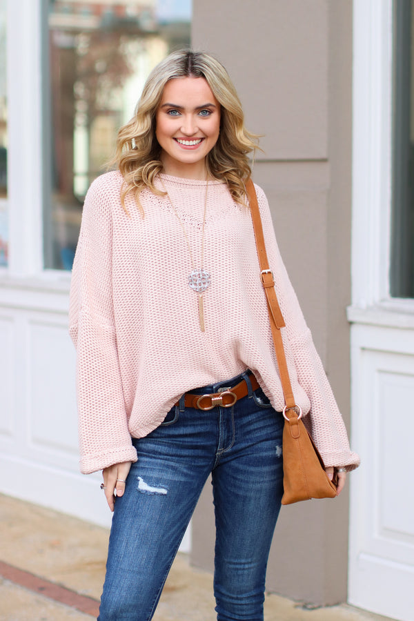 S / Blush Hodges Bell Sleeve Knit Sweater - FINAL SALE - Madison and Mallory