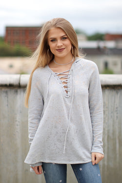 S / Steel Burnout Lace Up Hoodie - Madison + Mallory