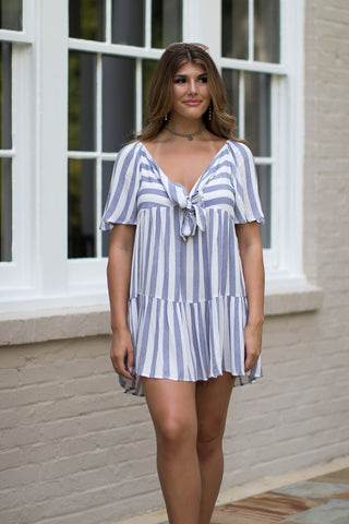 Tie Front Striped Dress - Madison + Mallory