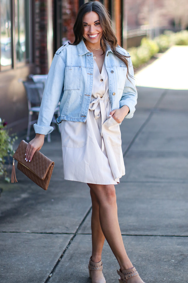 Tan / S Good Side Button Down Dress - Tan - Madison and Mallory