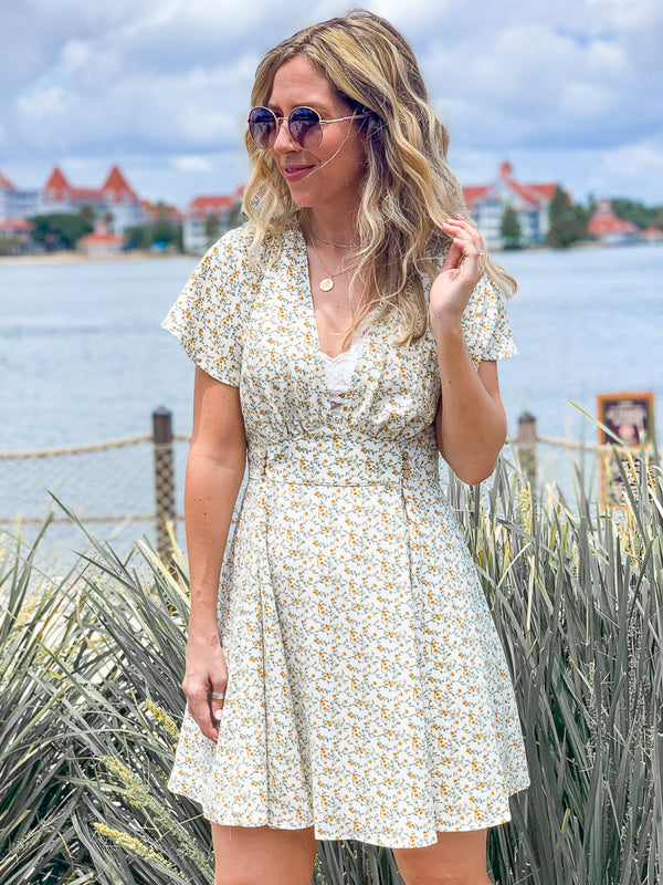 S / Ivory Meilani Ditsy Floral Dress - Ivory - FINAL SALE - Madison + Mallory