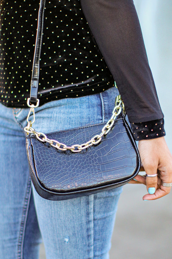 Black Carlotti Crocodile Chain Detail Mini Bag - Madison and Mallory