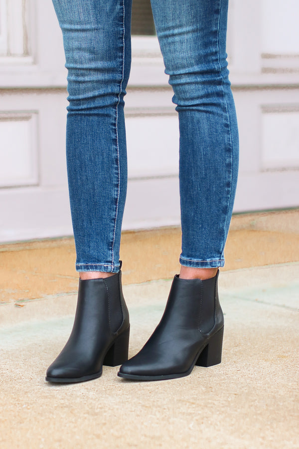 Rosslyn Faux Leather Booties - Madison and Mallory