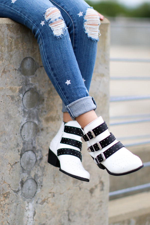 6 / White Stellar White Booties - Madison + Mallory