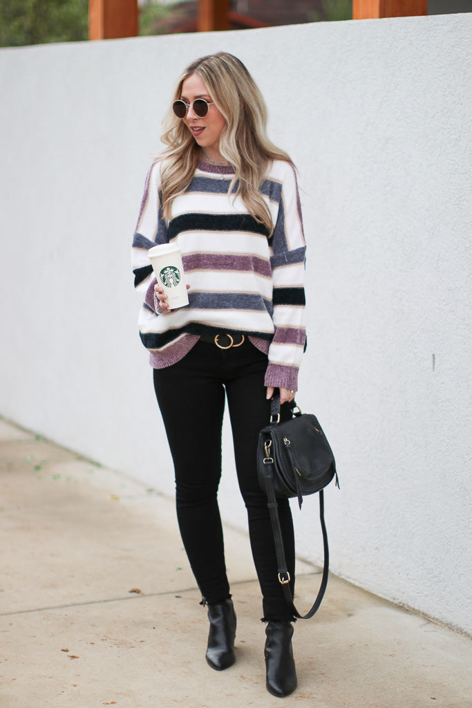 Care to Unwind Striped Sweater - Madison + Mallory