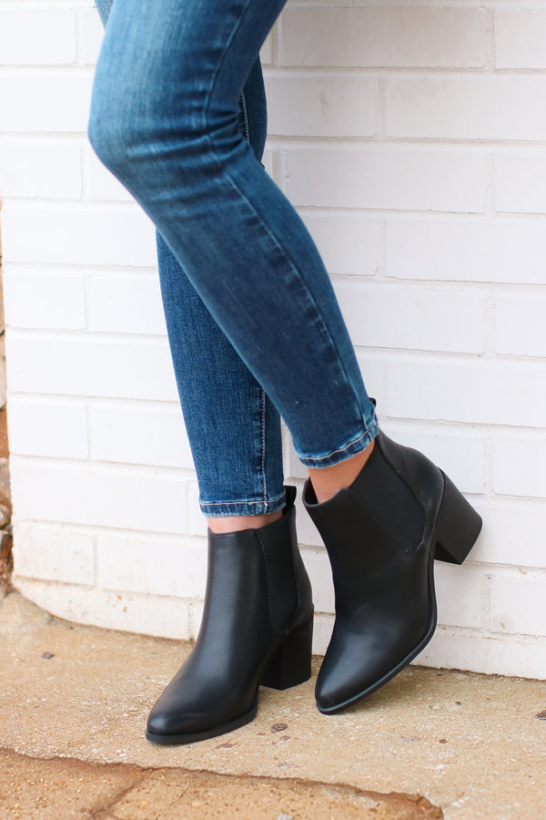 5.5 / Black Rosslyn Faux Leather Booties - Madison and Mallory
