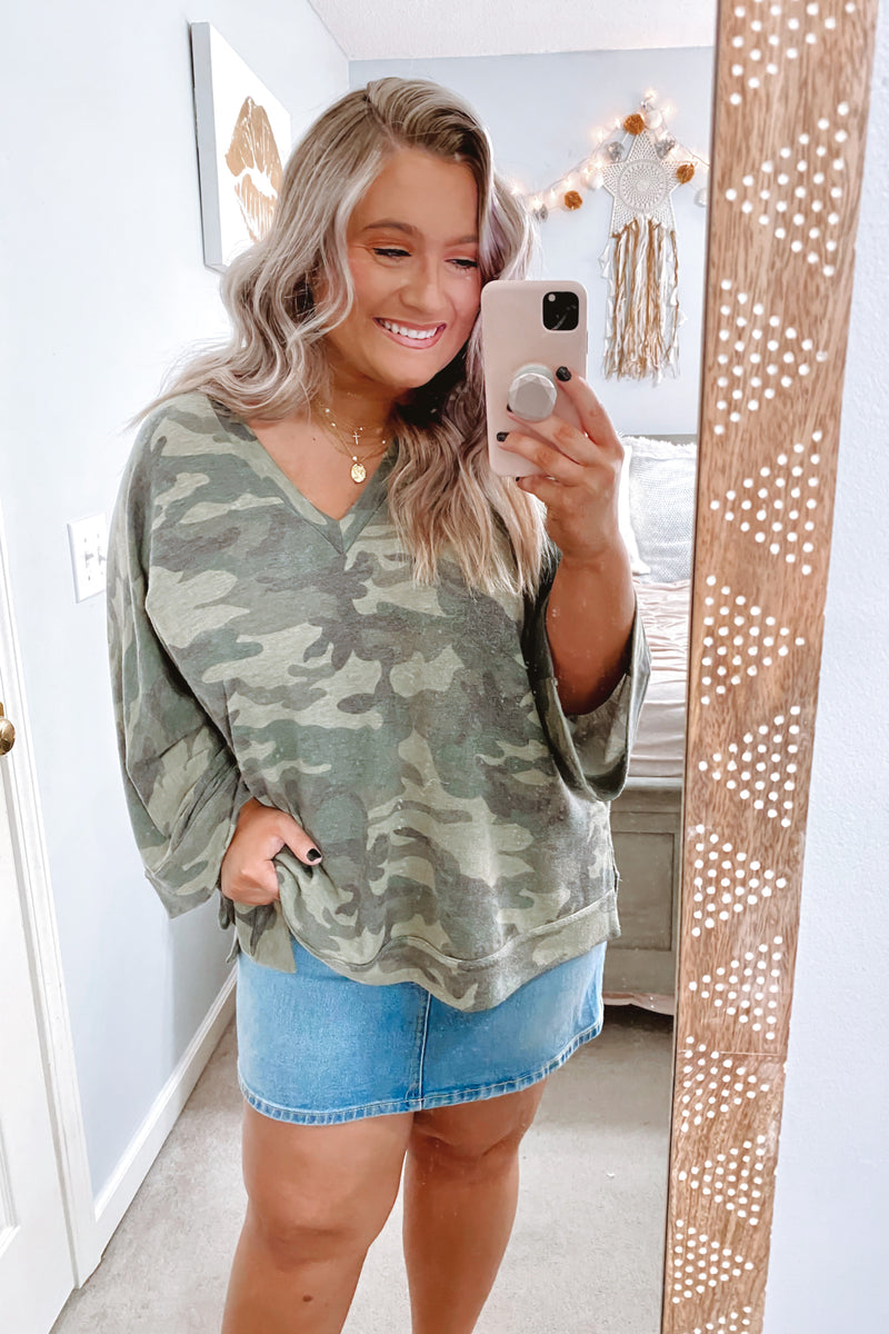Marching On Camo Print Top - Green - Madison and Mallory