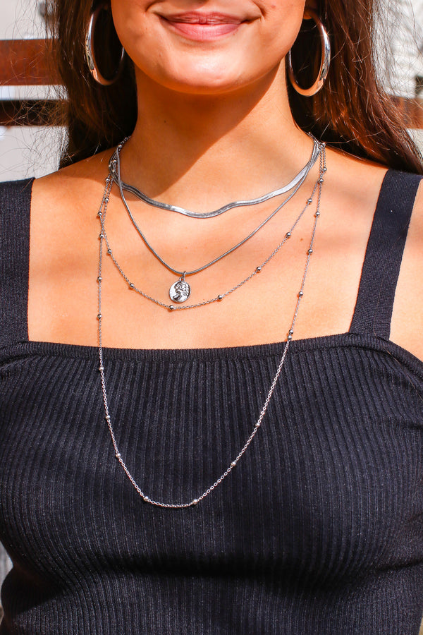 Silver Full of Wonder Coin Layered Necklace - Madison and Mallory