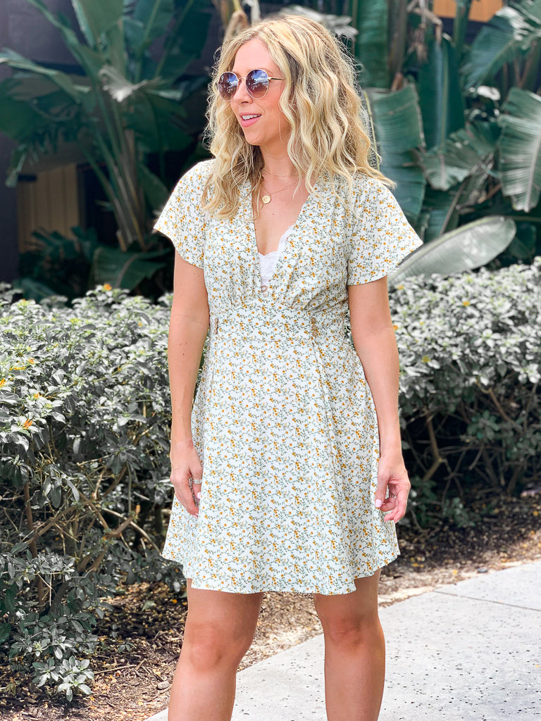 Meilani Ditsy Floral Dress - Ivory - Madison + Mallory
