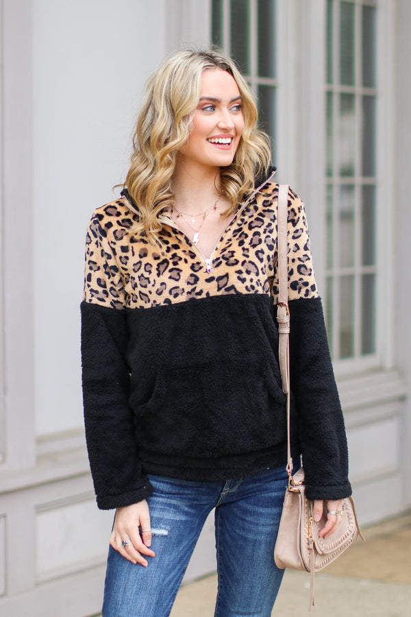 Black / S *DOORBUSTER* Keep Roaring Leopard Sherpa Pullover - Black - Madison + Mallory