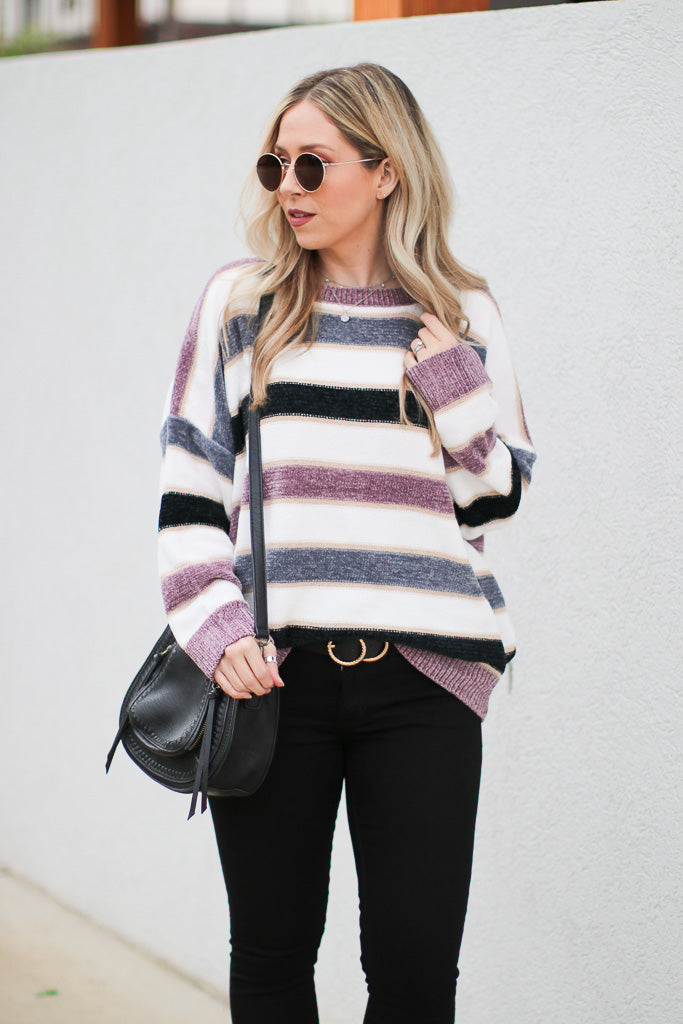 S / Lavender Care to Unwind Striped Sweater - Madison + Mallory