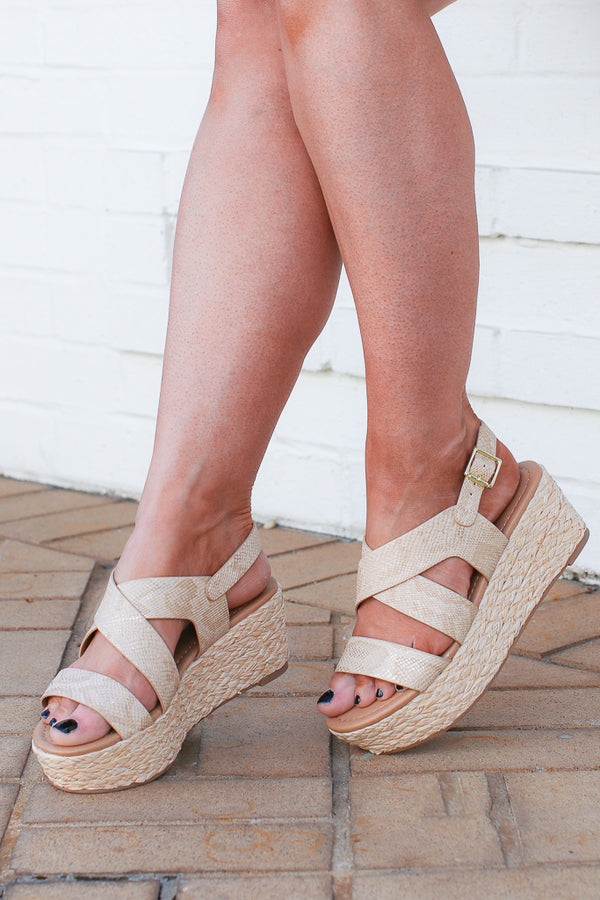 5.5 / Tan See You Move Snake Espadrille Platforms - FINAL SALE - Madison + Mallory