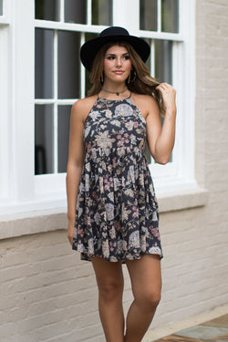 S / Charcoal Floral Keyhole Back Swing Dress - Madison + Mallory