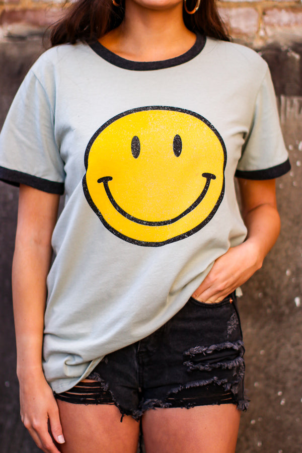 Sage / S Crack a Smile Vintage Graphic Top | CURVE - Madison and Mallory
