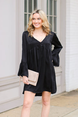 S / Black Something of Beauty Ruffled Dress - Madison and Mallory