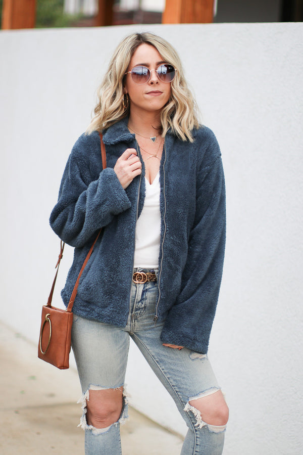 S / Blue Live the Life Faux Fur Jacket - Madison + Mallory