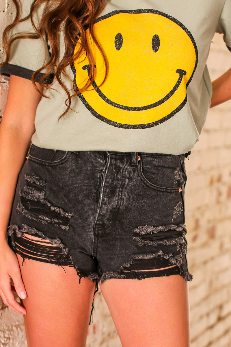 Black / S Cordero Distressed Washed Denim Shorts - Black - Madison and Mallory