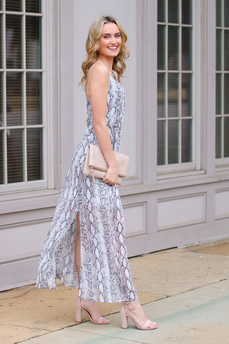 Strike My Interest Snake Maxi Dress - Madison and Mallory