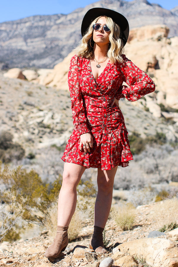 S / Red Maeve Ruched Floral Dress - Madison + Mallory