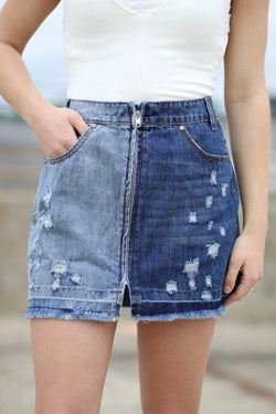 S / Denim Half & Half Zipper Skirt - FINAL SALE - Madison and Mallory