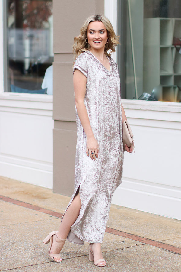 Pour Out Your Heart Velvet Maxi Dress - Madison + Mallory