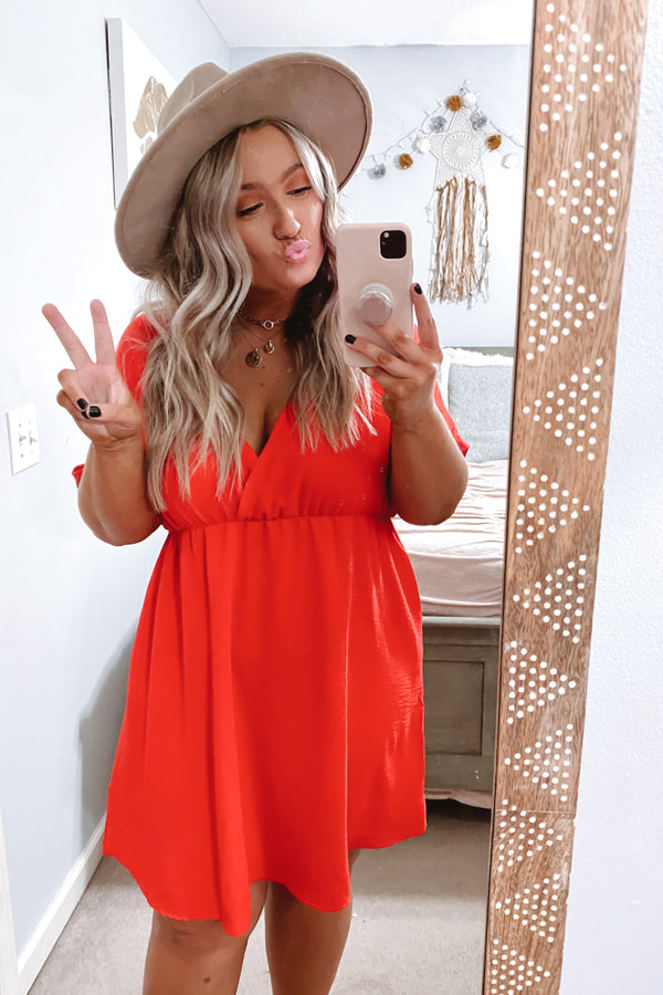 Closer to Me V-Neck Dress - Tangerine - Madison and Mallory