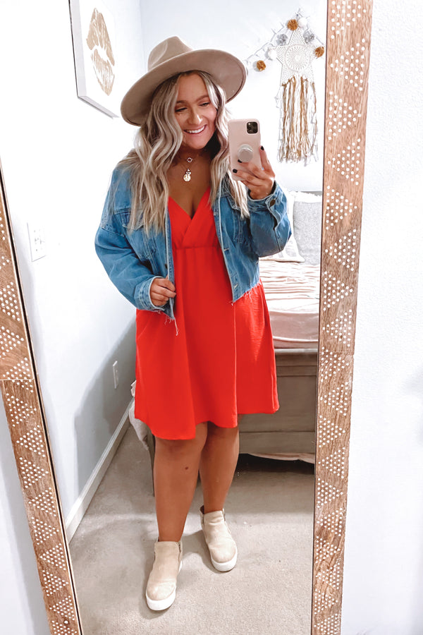 Tangerine / S Closer to Me V-Neck Dress | Curve - Tangerine - Madison and Mallory