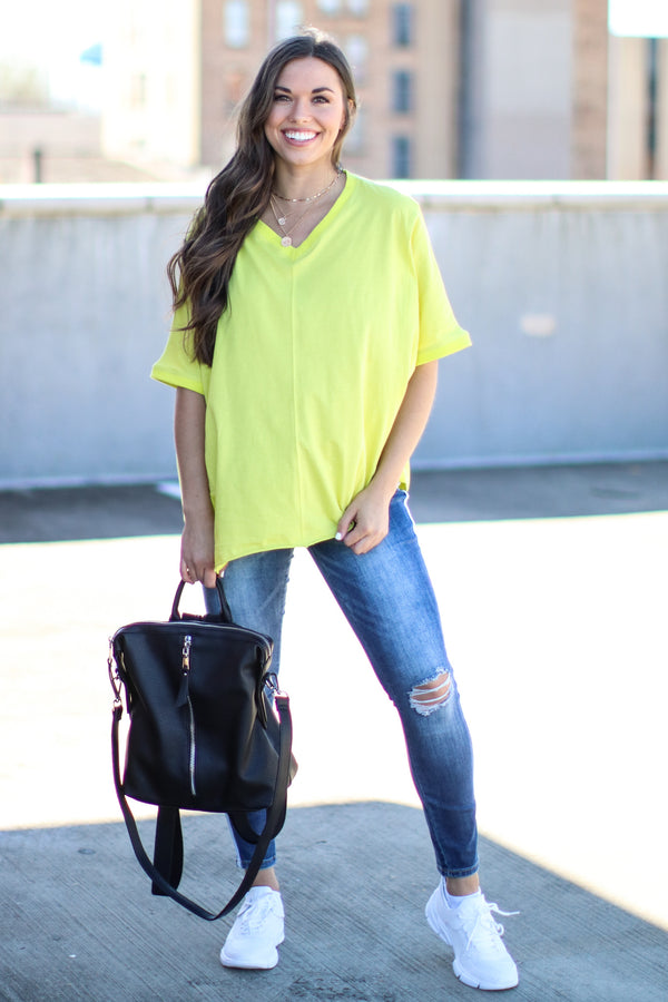 Score Oversized V-Neck Top - Neon Yellow - Madison and Mallory