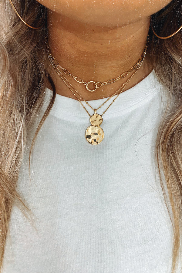 Gold Linked Up Layered Coin Necklace - Madison and Mallory