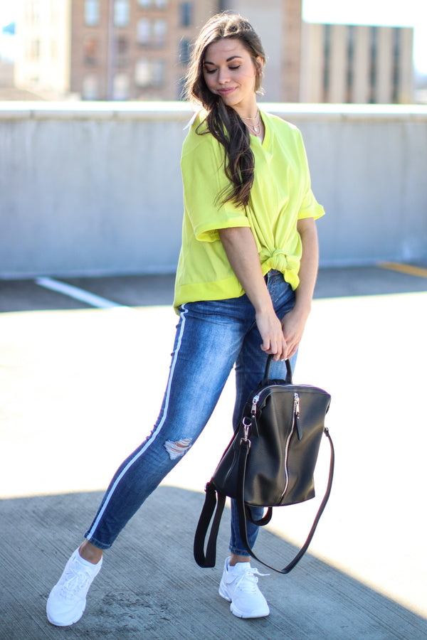 Neon Yellow / S Score Oversized V-Neck Top - Neon Yellow - Madison and Mallory