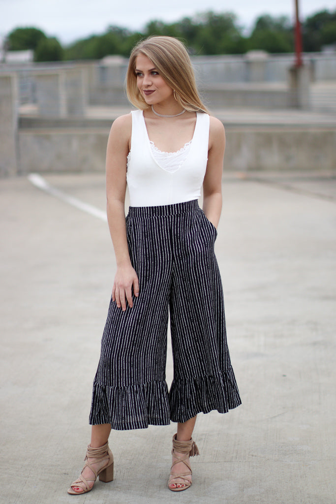 S / Black/White Ada Wide Leg Pants - Madison + Mallory