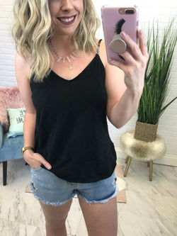 S / Black Flowy V-Neck Tank Top - Madison + Mallory