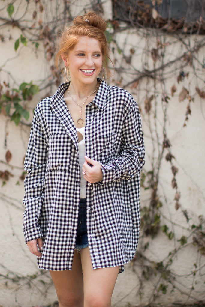 S / Black Count on Me Gingham Top - Madison + Mallory