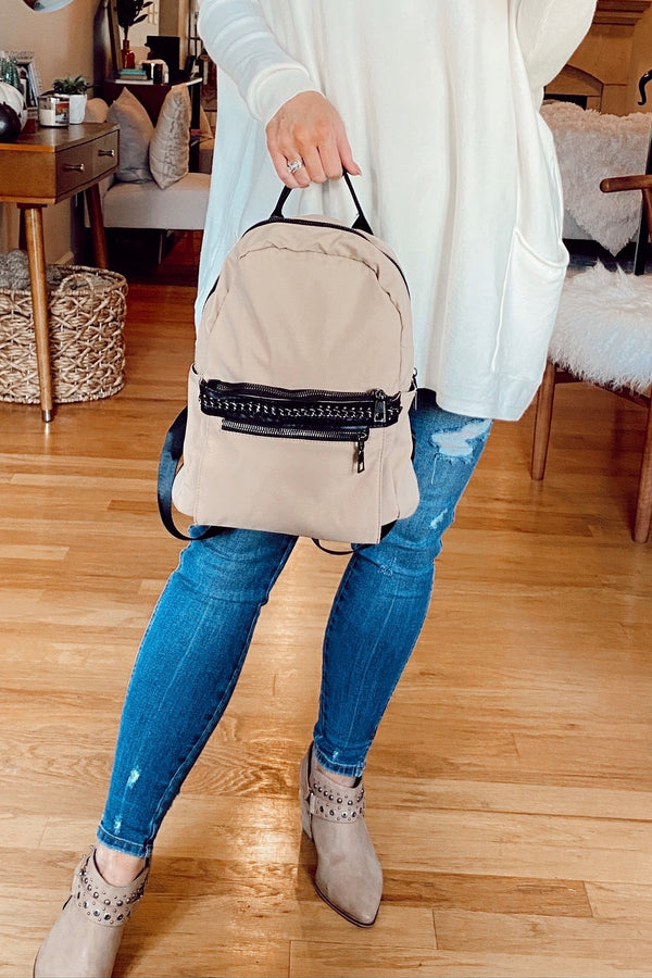 Khaki Link Up Chain Accent Backpack - Madison and Mallory