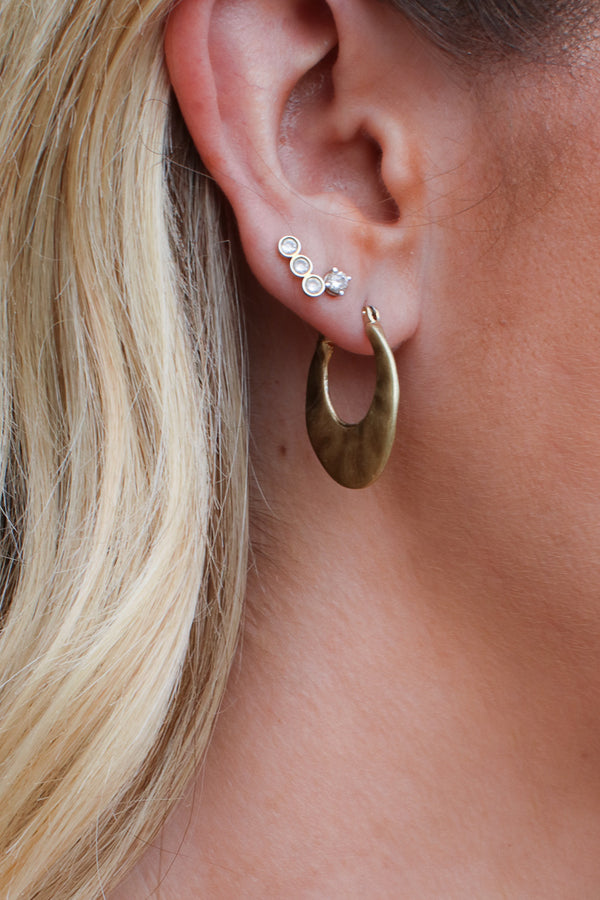 OS / Gold Turia Hammered Hoop Earrings - Madison + Mallory