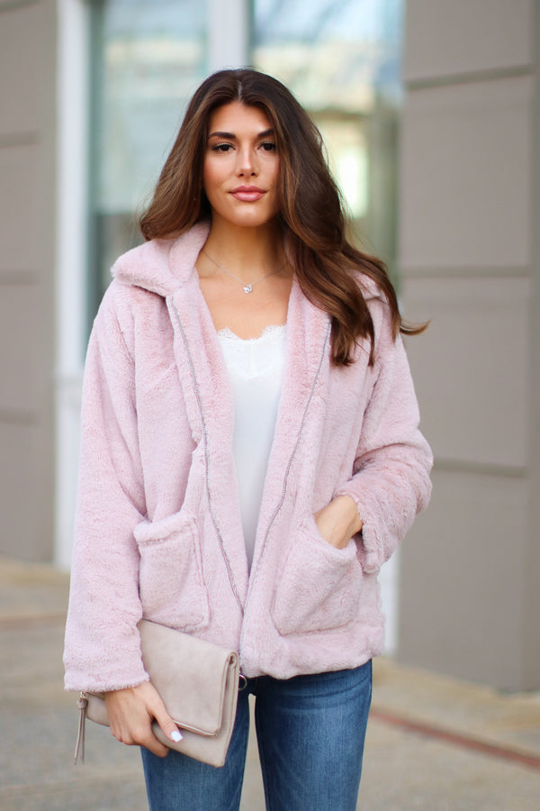 S / Blush Cozy Crush Faux Fur Jacket - Madison and Mallory