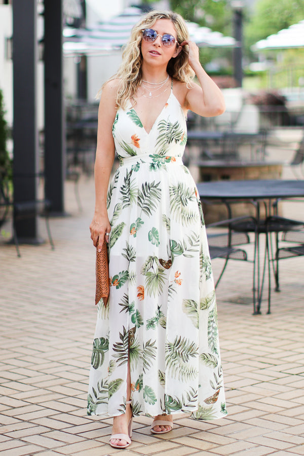 S / White Permanent Vacay Tropical Print Maxi Dress - FINAL SALE - Madison + Mallory