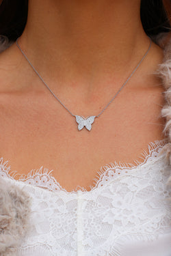 Silver Spread Your Wings CZ Butterfly Necklace - Madison and Mallory